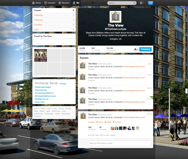 Twitter page we created for an Arlington, VA apartment community.