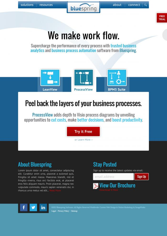 Custom homepage design for Bluespring software company.