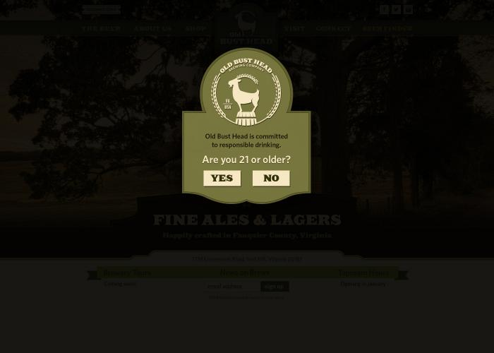 The age verification page designed for a local brewery in Virginia