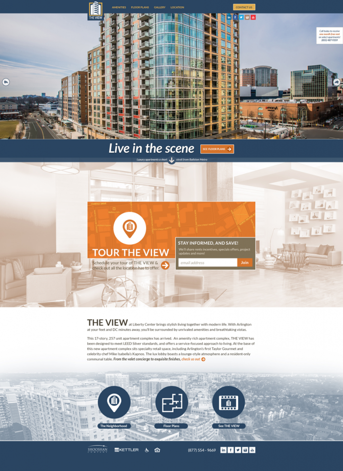 An example of a custom website our company designed for a local luxury apartment building.