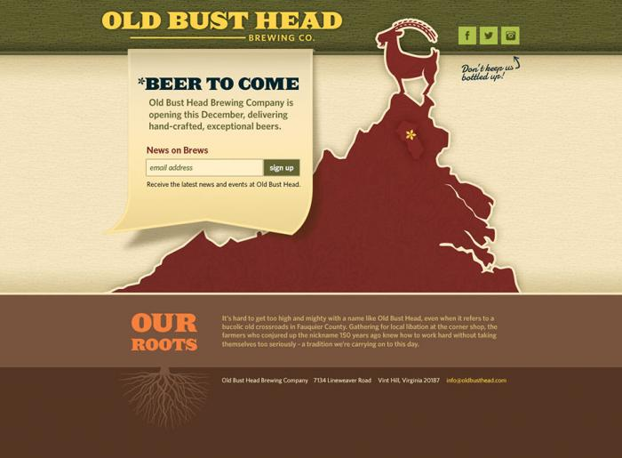 Temporary website designed for a local brewery in Virginia